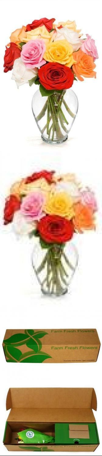 12 Long Stem Assorted Roses - With Vase Does not delivery on Saturday, Sunday or Monday.. Free one-day shipping.. 3 red / 2 pink / 2 white / 3 yellow / 2 orange assortment / 20-inch stems; Rainforest Alliance certified. Product shipped in bud form for optimal vase life; blooms will open a few days after cutting them and putting them in  water.  #Amazon_Curated_Flower_Collection #Grocery