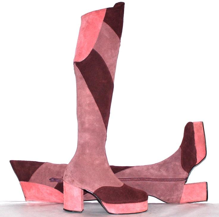 Vintage 70s SBICCA Boots Color Block Pink Suede OTK Platform Boots