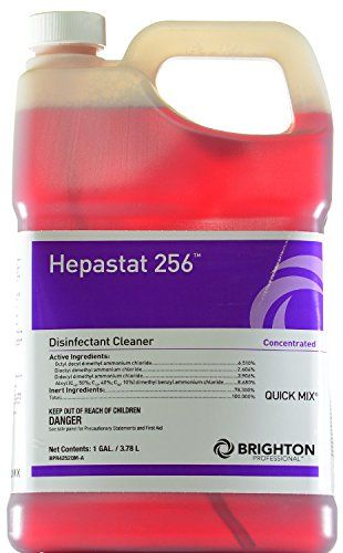 Brighton Professional™ Hepastat 256™ Disinfectant Cleaner, Quick Mix, 1 Gallon:   A highly concentrated, multipurpose, 1-step hospital-grade cleaner-disinfectant. Kills VRE, MRSA, VISA, E. coli and Trichophyton mentagrophytes (athlete's foot fungus) For use in Staples Quick Mix® Dilution Control System For a full carton, please order item 760084. Effective against HBV, HCV, HIV-1 (AIDS virus), herpes simplex 1 and 2, Norwalk virus (norovirus), Influenza type A and SARS Quat formula has...