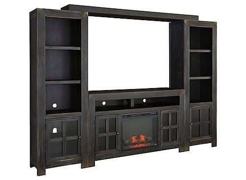 With its sleek, modern design, the Pearson 4-piece wall unit with log fire insert makes a stylish addition to any room.