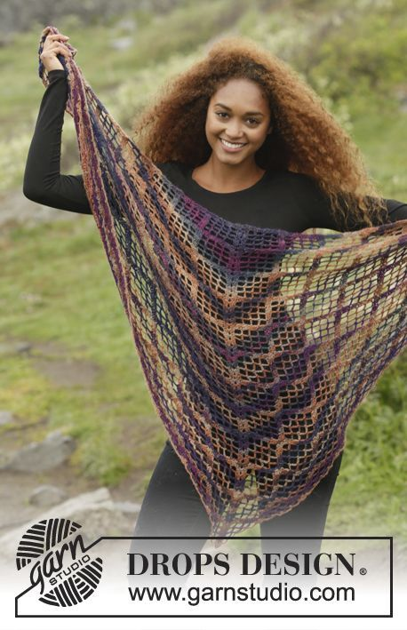 Crochet DROPS shawl with lace ch-spaces and fans, worked top down in Delight. Free pattern by DROPS Design.