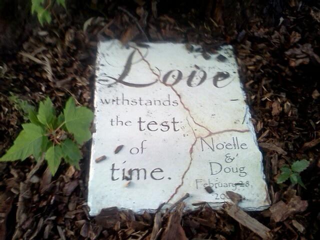 Garden stone w/ our wedding date inscribed