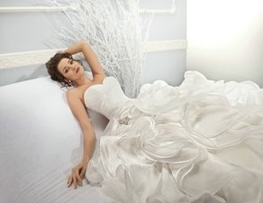 .::2014 Cosmobella Collection::.  Style # 7628      .::Beautiful Soft Organza Fitted Bodice with Appliqué on the Hip, Sweetheart Neckline::.
