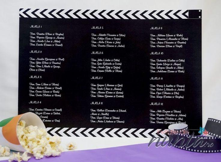 Lista cu asezarea invitatilor la mese Cinema, potrivita pentru a completa un decor de nunta cu tematica Film.