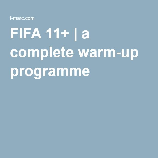 FIFA 11+ | a complete warm-up programme