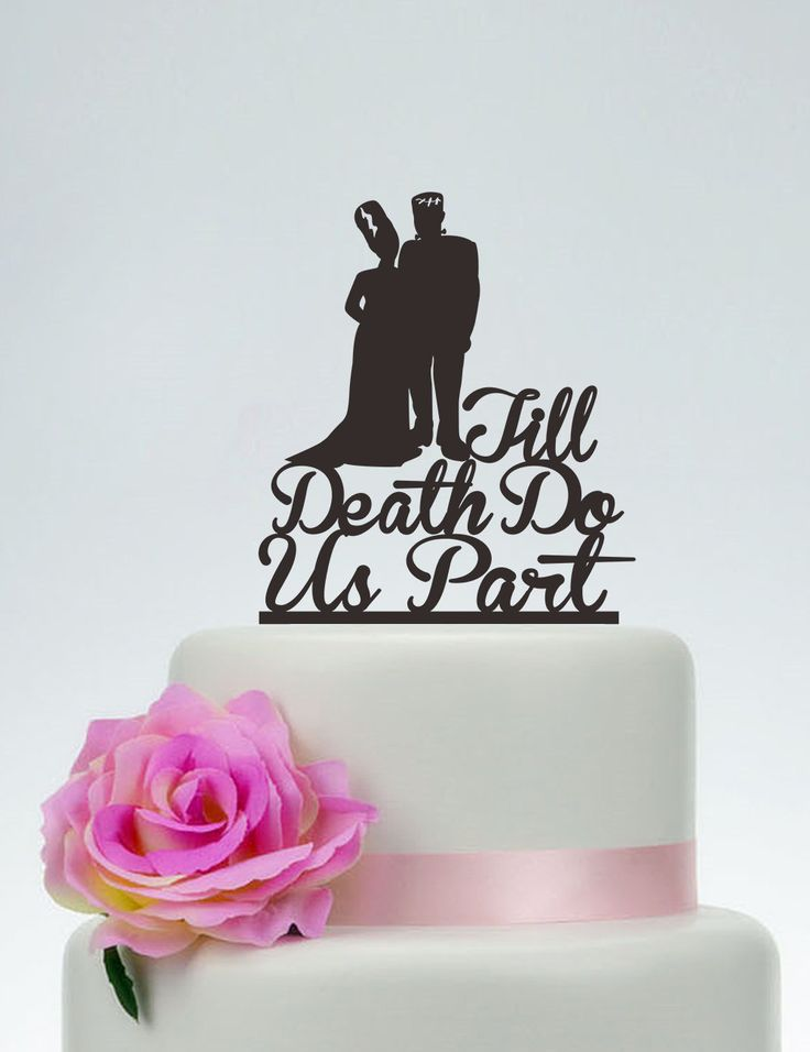 Wedding Cake TopperTill Death Do Us PartPersonalized Cake TopperFrankenstein Cake Topper Bride and Groom Halloween Wedding Topper P145 (14.99 USD) by SpecialDesignForYou