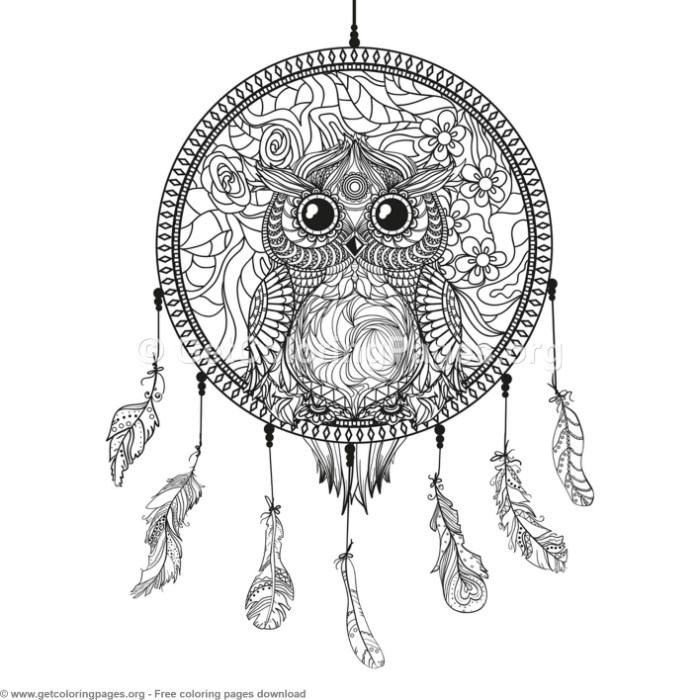 5 Owl Dream Catcher Coloring Pages Getcoloringpages Org