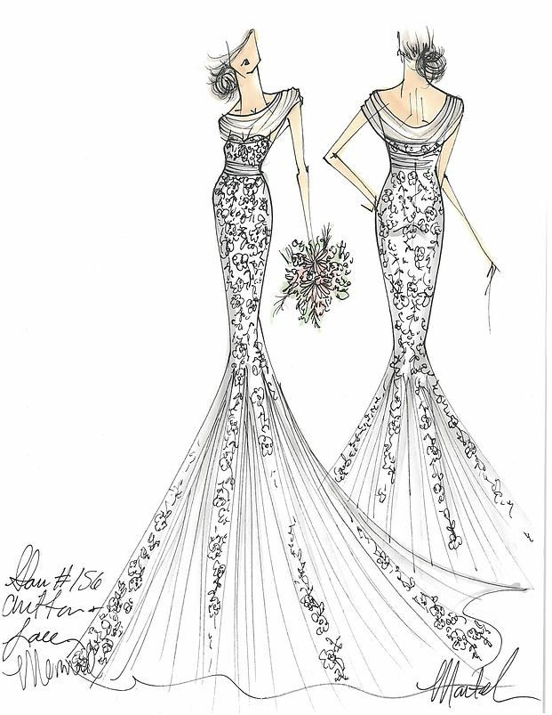 Lace Mermaid gown with draped Neckline and Pleated Godets