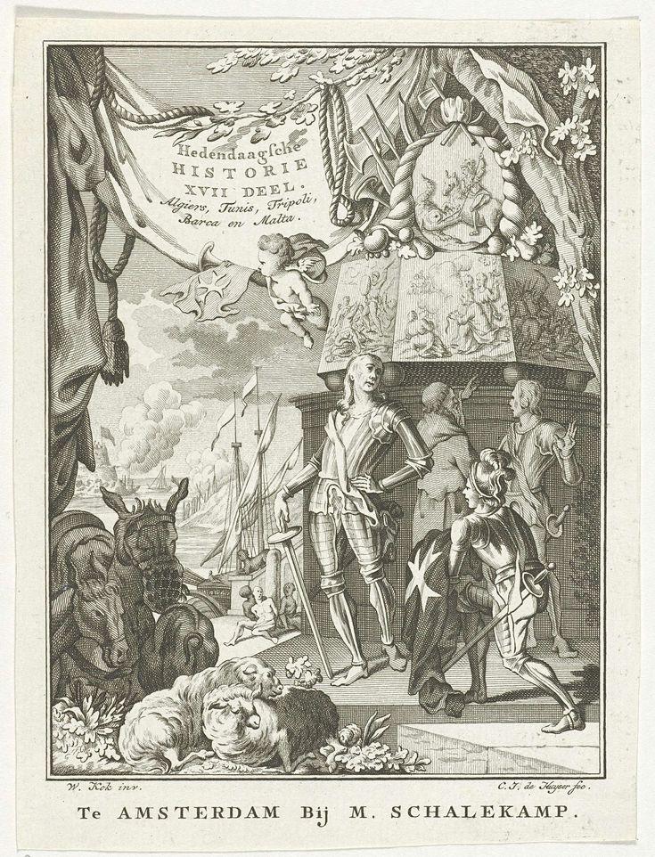 Carel Jacob de Huyser | Allegorie op Noord-Afrika en Malta, Carel Jacob de Huyser, Willem Kok, M. Schalekamp, 1786 | Voor een monument, met daarop een afbeelding van Joris en de draak, een geharnaste man, die door een geknielde man een gewaad aangeboden krijgt met daarop het Maltezer kruis. Linksvoor twee ezels en twee schapen. Linksachter een schip en zee, met daarvoor vastgebonden slaven.