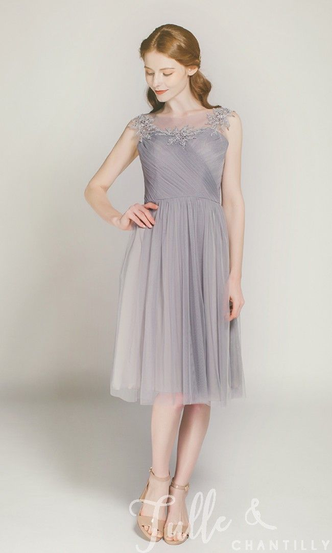 bd54782d4a9 Short Tulle Bridesmaid Dress with Illusion Lace Neck TBQP300 in 2018 ...