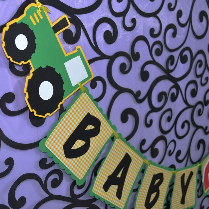 John Deere Inspired Tractor and Barn Baby Boy Baby Shower Banner.