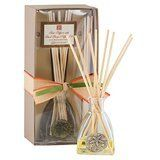 """Aromatique Island Breeze Reed Diffuser Set with Sand Dollar by Aromatique. $19.99. metal sand dollar: 3.1 fl.oz.(92ml). Tall diamond shape glass bottle with attached. Diffuser oil, reeds: 9.5"""". This Aromatique Island Breeze Reed Diffuser Set with Sand Dollar offers a fragrance that fills the air with sugar cane, ylang ylang and a hint of citrus!"""