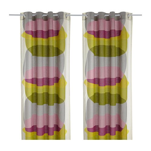 IKEA - MALIN FIGUR, Curtains, 1 pair, Linen gives the fabric a natural, irregular texture and makes it feel firm to the touch.The eyelet heading allows you to hang the curtains directly on a curtain rod.
