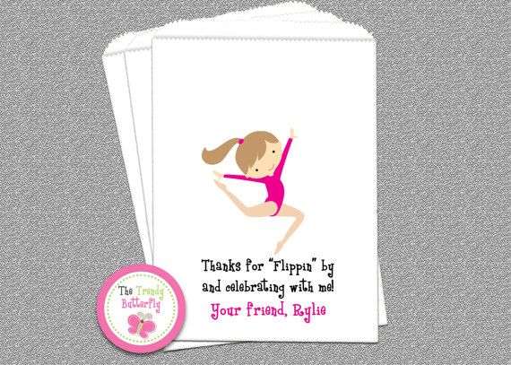 Gymnastics Party Favor Bag  Gymnastics Candy by TheTrendyButterfly, $22.00