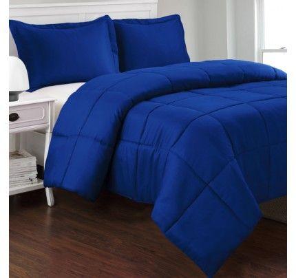 Egyptian Cotton Down Alternative Royal Blue Comforter Set