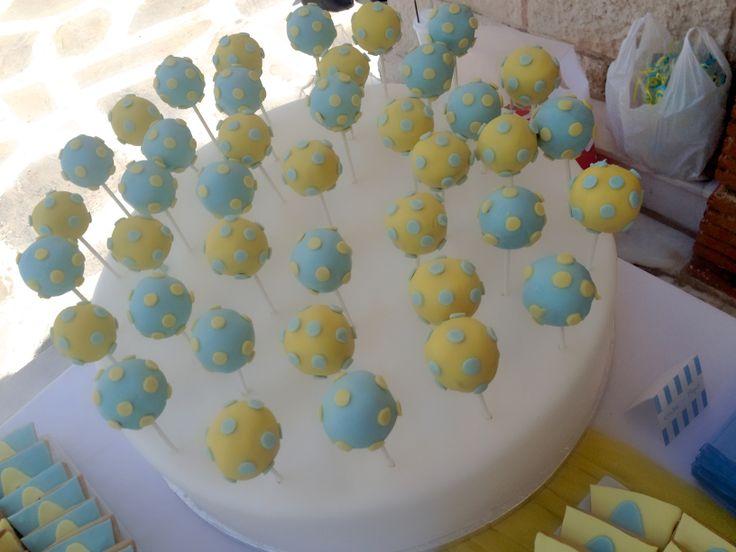 #στολισμος βαπτισης cake-pops πουα κιτρινο μπλε