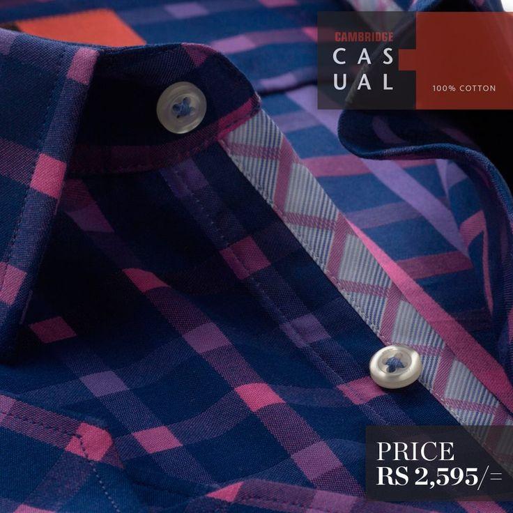 Semi-formal pure cotton shirts. Available in stripes and checks - L/Blue ..!! Shop Now : http://goo.gl/rlZ72J ..!! #CambridgeShirts #MenCasualShirts