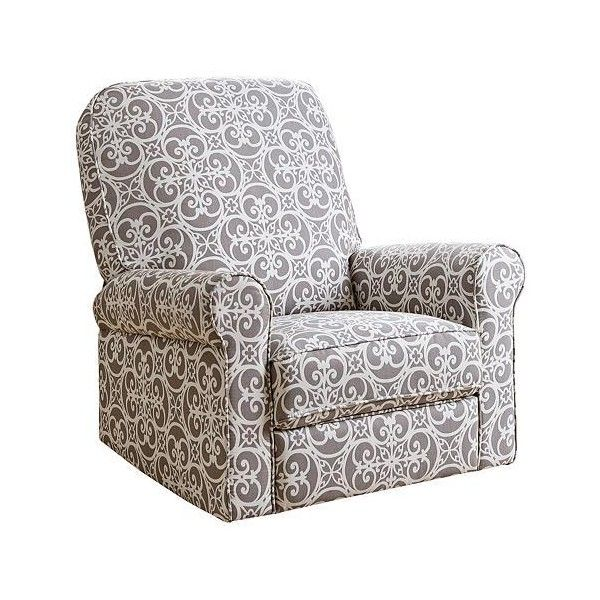 Perth Gray Floral Fabric Swivel Glider Recliner Chair ($550) ❤ liked on Polyvore featuring home, furniture, chairs, gray upholstered chair, grey glider, upholstered swivel chairs, grey fabric chair and gray chairs