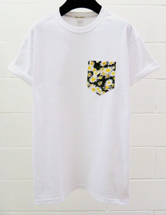Men's Floral Daisy Pattern White Pocket TShirt by HeartLabelTees, £9.95