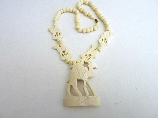 Figural Camel Pendant Bead Necklace Carved Bone by ediesbest on Etsy