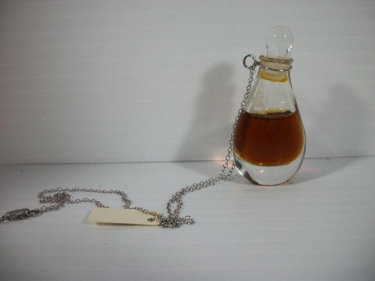 Halston Perfume Pendant Necklace Sterling Chain Vintage Tear Drop Bottle W Box   eBay