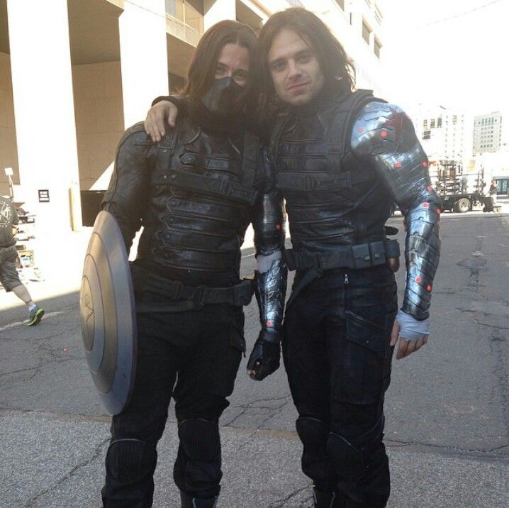BTS - Sebastian Stan with his amazing stunt double James Young.