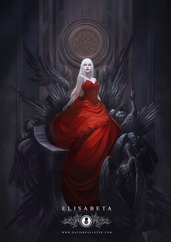 Rotes Party Kleid ohne Träger im Mittelalter