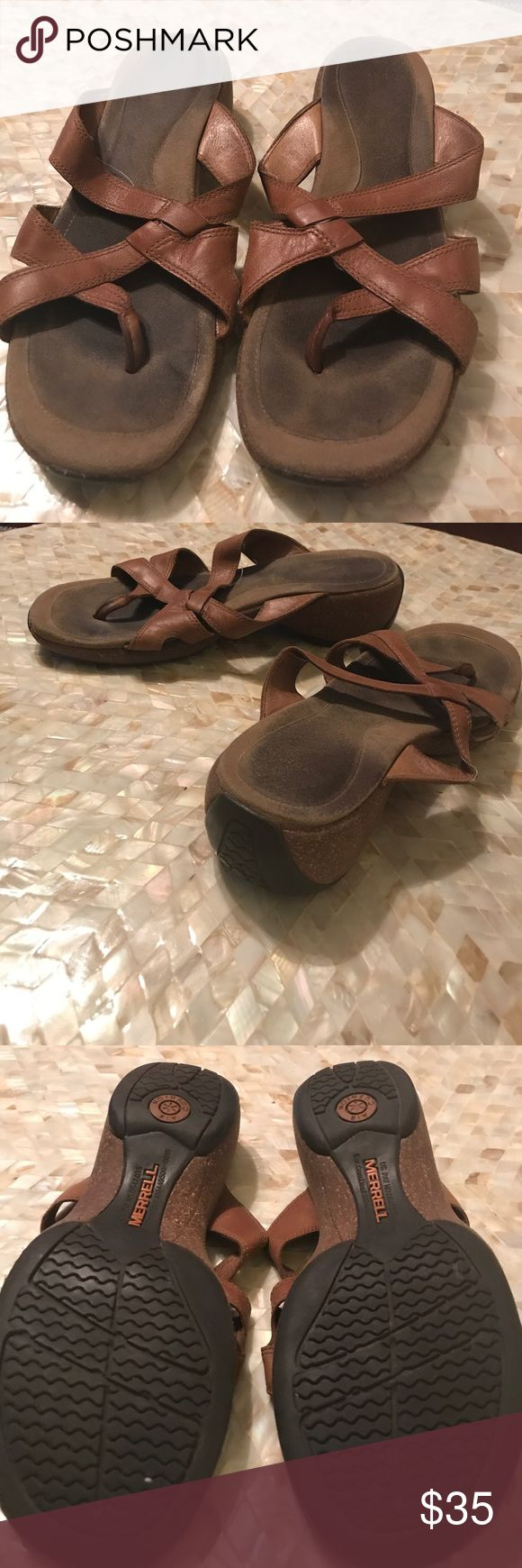 Brown leather Merrell ladies sandals Good used condition, brown leather Merrell sandals. Very comfortable. I think a size 8.5 but can't find the size on them. Shoes Sandals