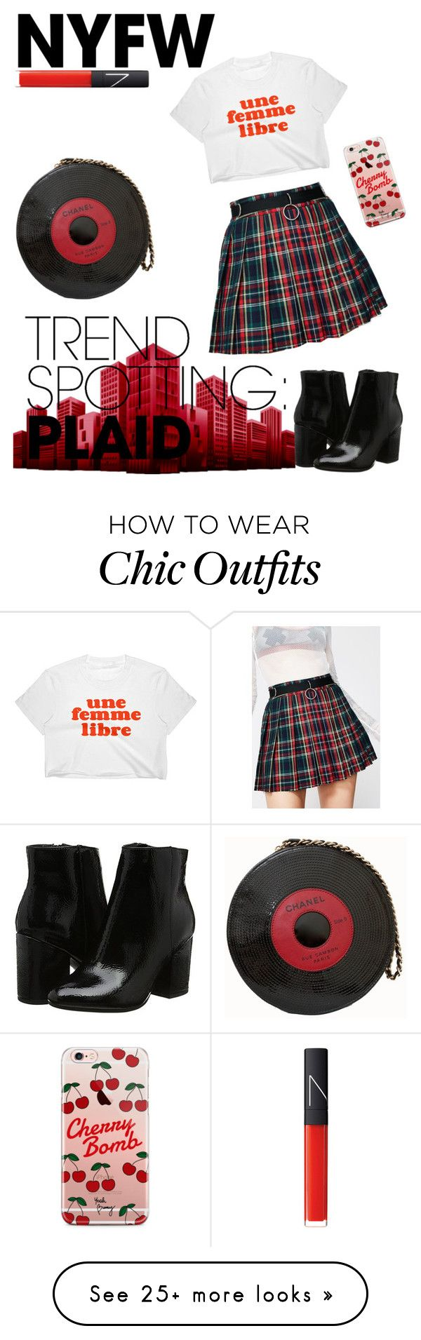 """""""plaid"""" by cameelaa on Polyvore featuring Current Mood, Chanel, ETUÍ, NARS Cosmetics, contestentry and NYFWPlaid"""