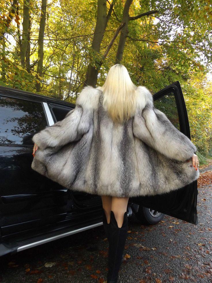 RARE Platinum Shadow Fox Fur Stroller Coat Jacket