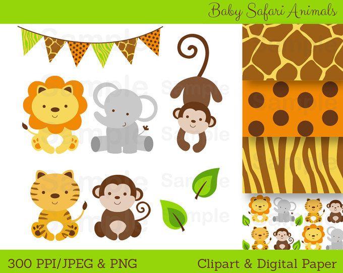On Sale Instant Download Jungle Animals Clip Art Can Etsy Jungle Animals Baby Shower Baby Jungle Animals Safari Animals