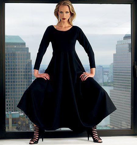 Misses' Dress  designer discrete pooping caftan
