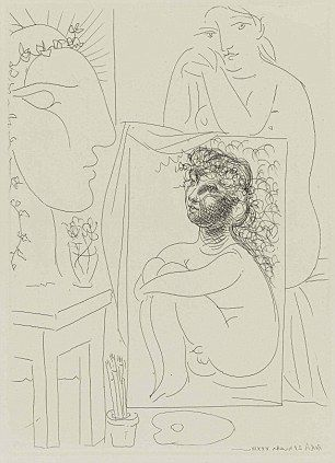 Picasso   Etching: Not unlike any of his other pieces, Picasso uses all kinds of different lines and shapes to put his etching together.