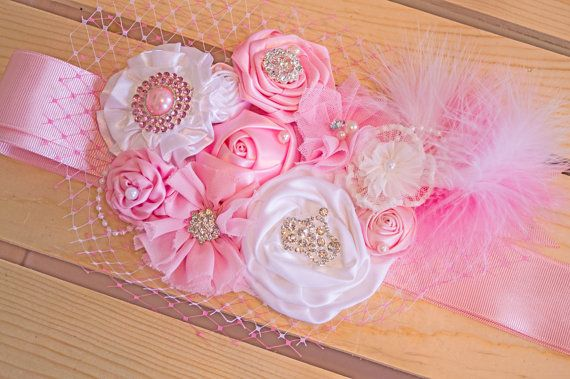 Beautiful Pink and White Maternity Sash by LaBandeauxBowtique