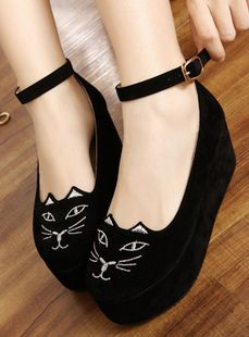 Round Toe Japan Embroidered Cat High Platform Flat Oxford Casual Creeper Shoes