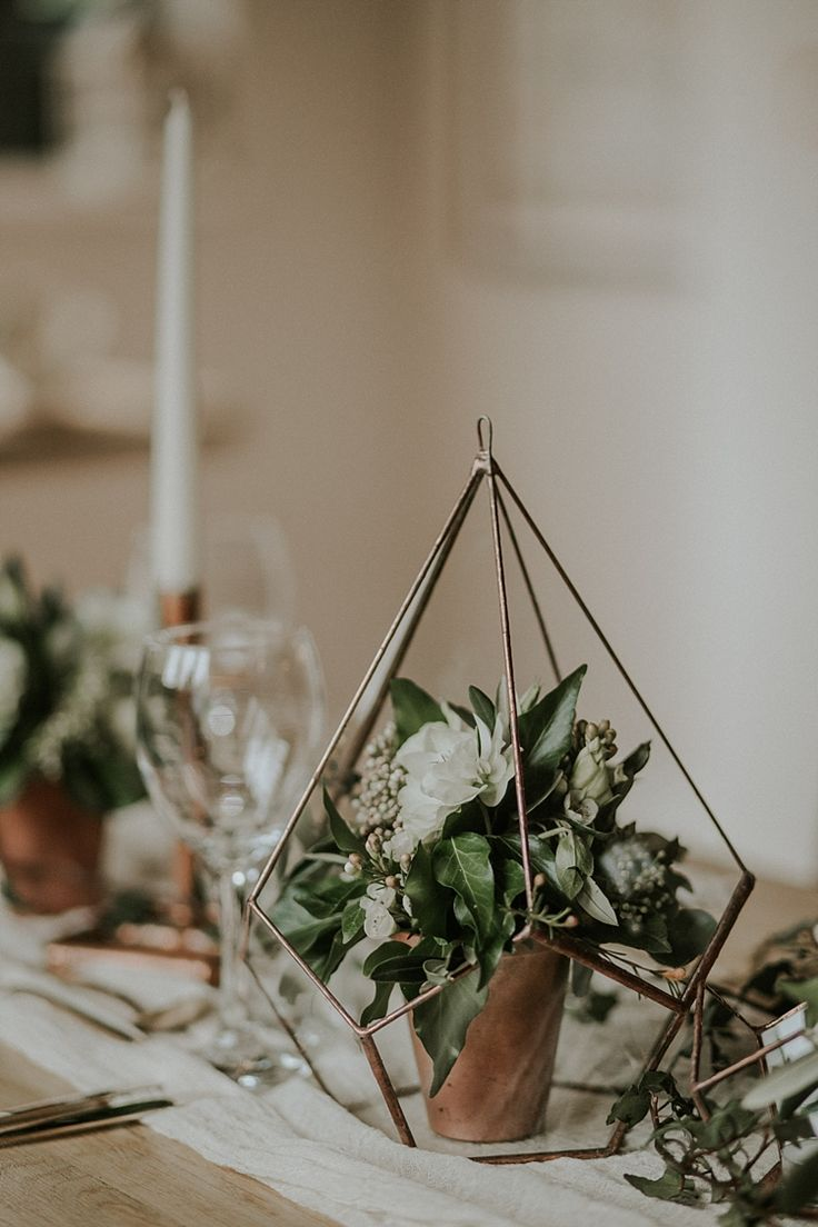Terrariums Flowers Decor Modern Botanical Copper Geometric Wedding Ideas http://lolarosephotography.com/