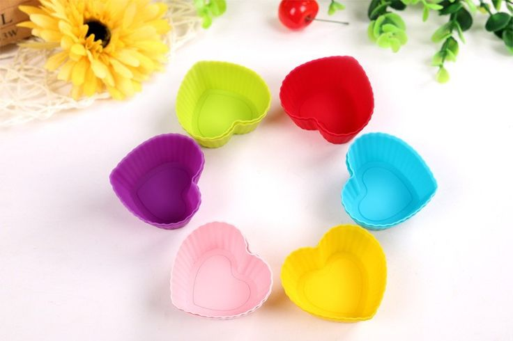 Heart-shaped Silicone Cupcake Liners / Baking Molds - 12 pc. Set - 6 Colors
