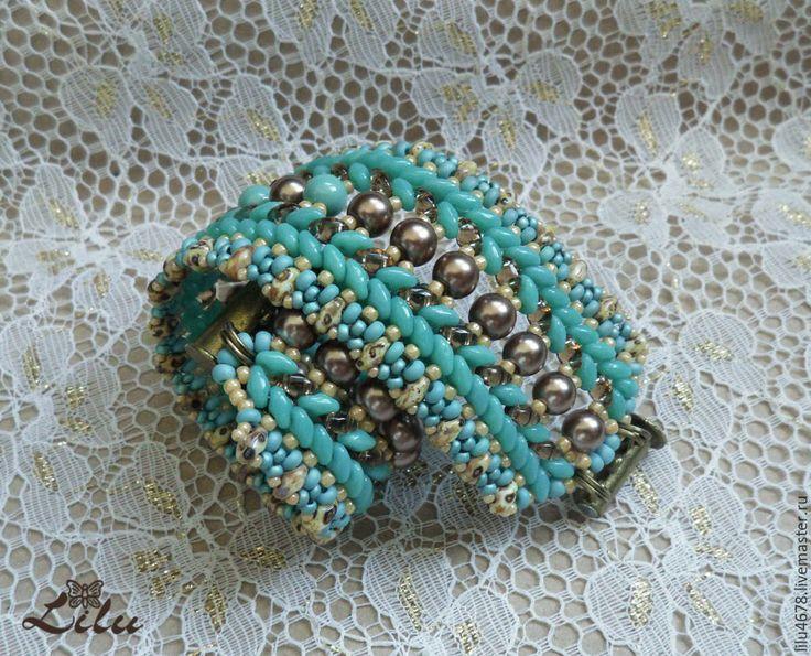 """Купить Плетеный бирюзовый браслет из супердуо """"Морская нимфа"""" - супердуо, плетеный браслет"""