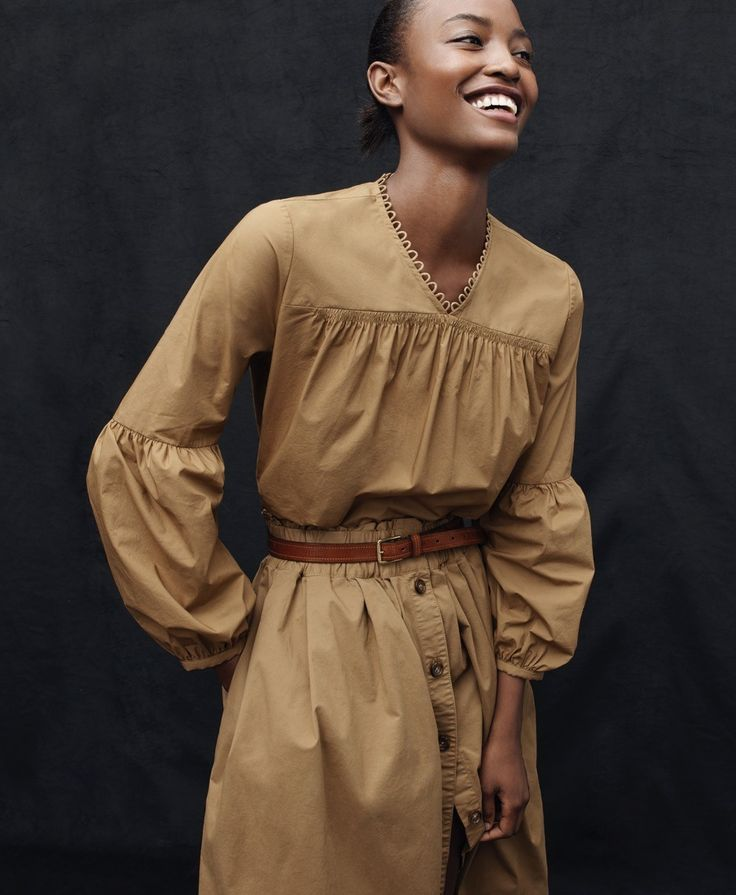 J.Crew women's collection Thomas Mason® for J.Crew ruched popover shirt and button-front chino skirt.