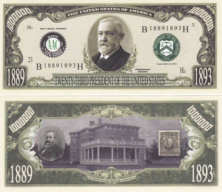 One bill for each past President: 1. Description from noveltycurrency.com. I searched for this on bing.com/images