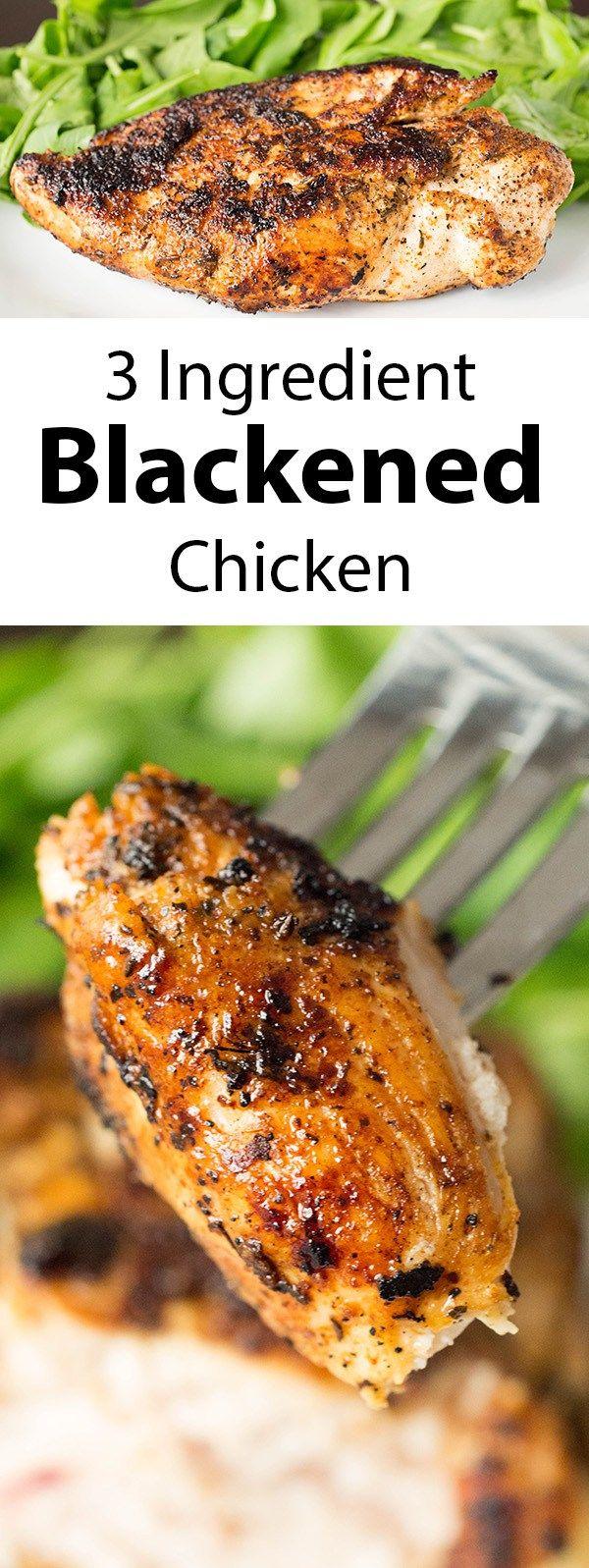 One of our favorite weeknight meals: easy, three ingredient blackened chicken.