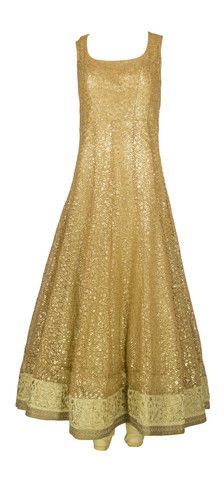 Regal Bronze Anarkali by Maya & Amar – LuxShoppe.com Sleeveless bronze-gold Anarkali exquisitely embellished with sequins embroidery for a shimmery royal finish. Silk threadwork border accents the hemline.
