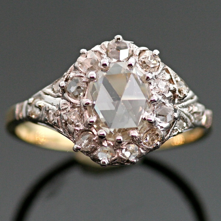Antique Diamond Ring - 14k White and Yellow Gold with Rose Cut Diamond. Lovely