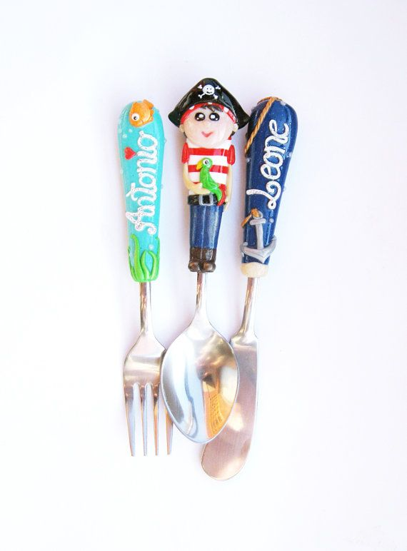 Set of three Serving Cutlery Set Pirate Red Blue Baby by KaSHIKeee, $42.00