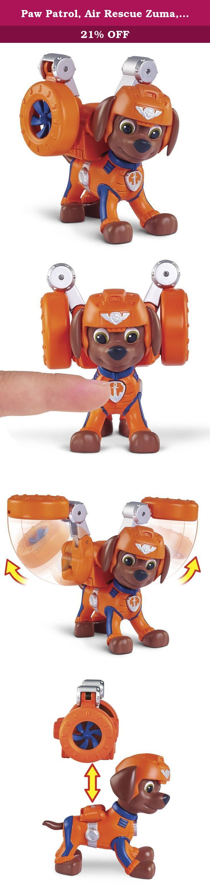 Paw Patrol, Air Rescue Zuma, Pup Pack & Badge. Paw Patrol is on a roll! Air Rescue Zuma is ready for a high-flying rescue with his transforming Pup Pack! Just press the button to transform Zuma's Pup Pack into wings! When the job is done and it's time to pack up, the wings easily transform back into the Pup Pack. You can join the Paw Patrol too with an included Air Rescue Badge made just for you! Now you can wear it on all of your Paw Patrol adventures. Need help from Paw Patrol gang?...