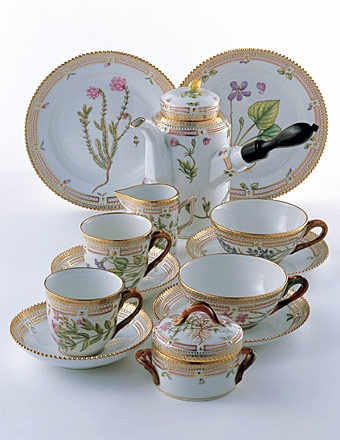 Flora Danica coffee set - Royal Copenhagen, Denmark.