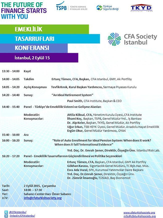 """CFA Society of İstanbul tarafından 2 Eylül tarihinde """"Türkiye Emeklilik Tasarrufları"""" Konferansı düzenlenecektir"""