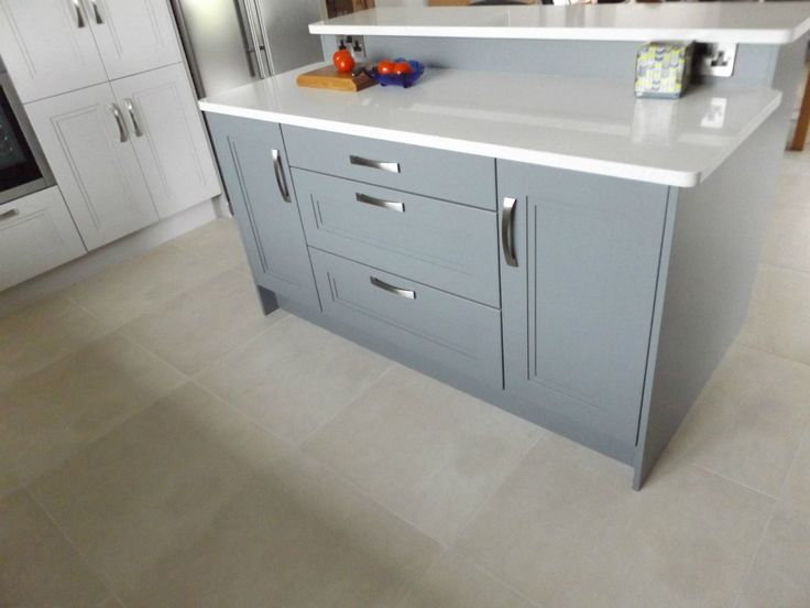 Grey Painted Stepped Shaker Island by Newhaven Kitchens, Carlow www.newhavenkitchens.ie