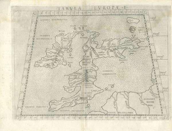 LOT:565 | After Claudius Ptolemy - Eirolamo Ruscelli, Venice c.1561 Tabula Europae I Engraving, 280 x 290mm sheet Taken from La Geografia di Claudio Tolomeo