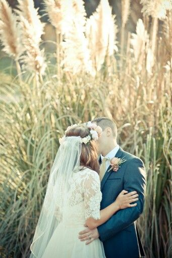 First kiss, bride and groom